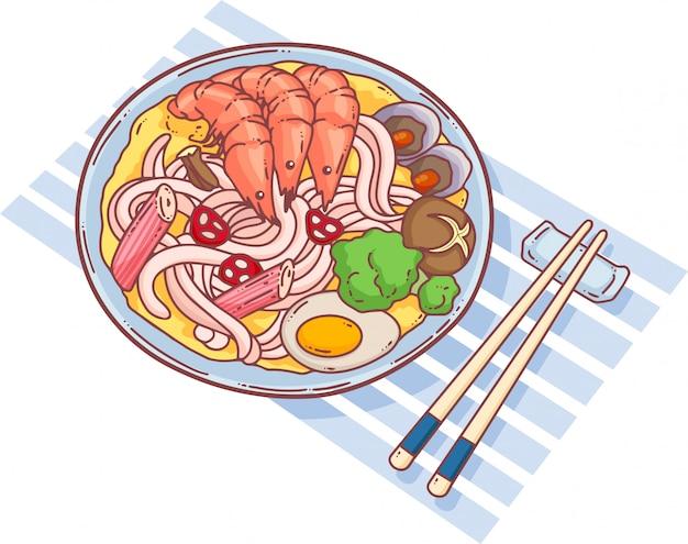 Морепродукты лапша иллюстрация