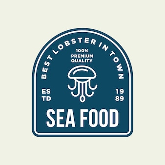Seafood octopus for restaurant line logo design