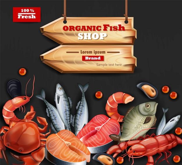 Seafood organic shop illustration