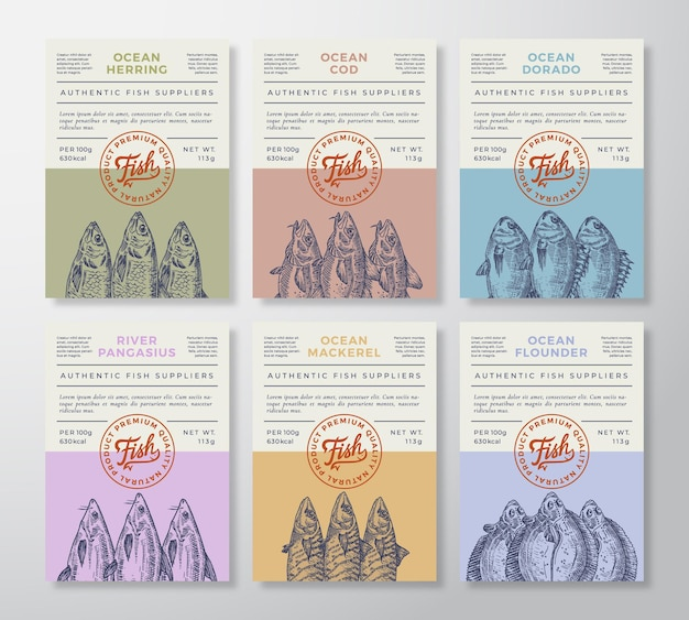 Seafood packaging or labels set