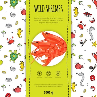 Seafood packaging for wild shrimps with plate