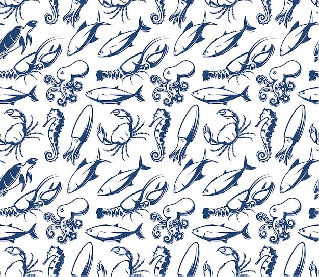 シーフードのパターン。海の生き物、魚。青い魚のシルエット