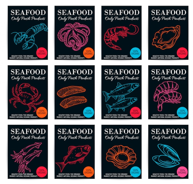 Seafood product poster set