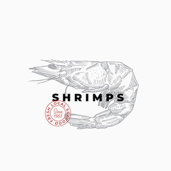 Seafood purveiors or restaurant abstract vector sign, symbol or logo template.