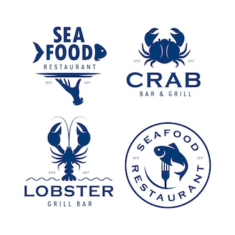 Seafood related logo set
