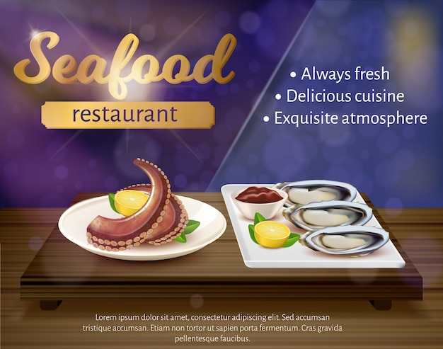 Seafood restaurant banner, fresh octopus, mussels