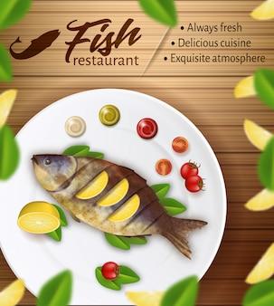 Ресторан морепродуктов баннер. свежая вкусная жареная рыба