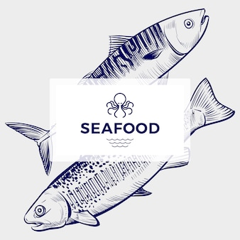 Seafood restaurant or cafe  banner template with hand drawn engraving fish