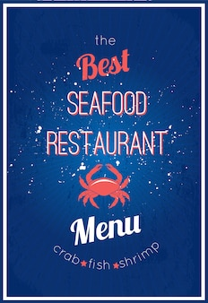 Seafood restaurant delicious menu advertisement placard design with appetizing crab fish shrimp poster abstract vector illustration