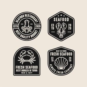 シーフードレストランデザインプレミアムロゴコレクション