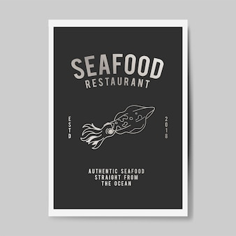 Seafood restaurant logo illustration