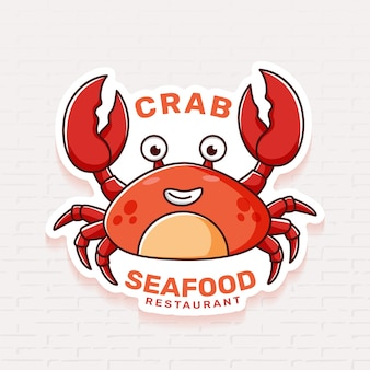 Seafood restaurant logo template with crab