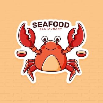 Шаблон логотипа ресторана морепродуктов с крабом