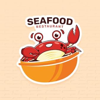 カニとシーフードレストランのロゴのテンプレート