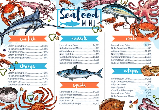 Seafood restaurant menu, fish gourmet food sketch