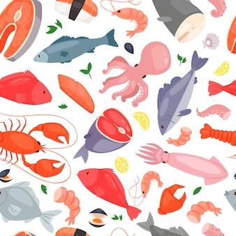 Seafood restaurant seamless pattern