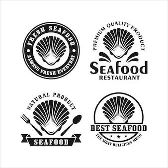 シーフードレストランの貝のロゴコレクション