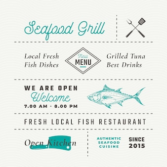 해산물 레스토랑 표지판, 제목, 비문 및 메뉴 장식 요소 집합입니다.