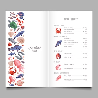 Seafood restaurant vector menu template with fish salmon and octopus illustration