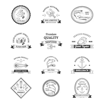 Seafood retro emblems