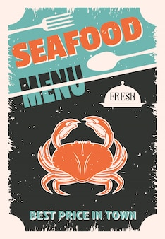 Seafood retro style menu with red crab on black worn cutlery and platter
