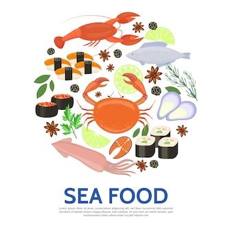 Modello rotondo di frutti di mare in stile piatto