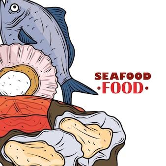 Морепродукты, лосось, рыба, мидии и устрицы, меню для гурманов, свежий плакат