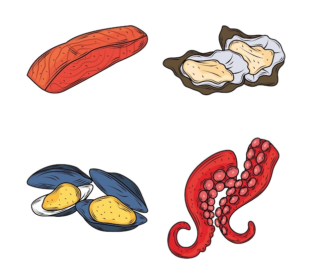 Seafood salmon mussels octopus clams menu gourmet fresh