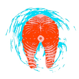 Морепродукты. стейк из лосося. векторная иллюстрация на белом фоне с синей текстурой волны. иллюстрация с уникальной рисованной текстурой.