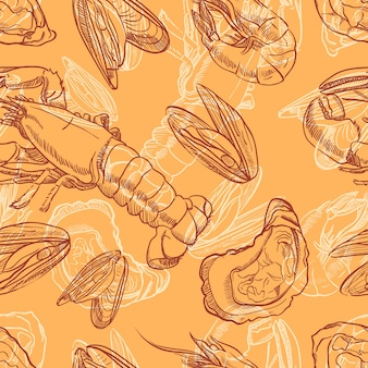 シーフード。オレンジ色の背景にシーフードとのシームレスな背景