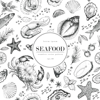 Seafood seamless vector pattern.