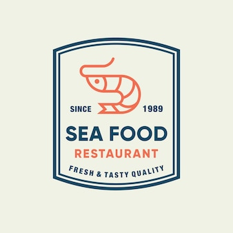 Seafood shrimp for restaurant line logo design