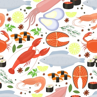 Seafood and spices  background for restaurant menu in a seamless patter