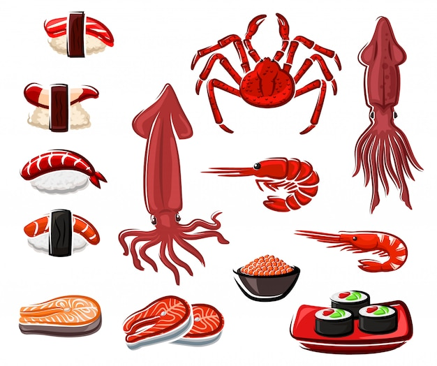 Суши и роллы из морепродуктов, японские морепродукты