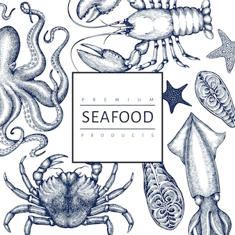 Seafood  template. hand drawn  seafood illustration. engraved style food . retro sea animals background
