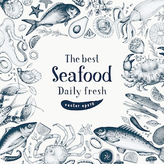 Seafood vector frame illustration