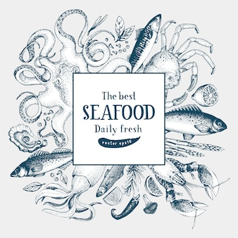 Seafood vector frame illustration.