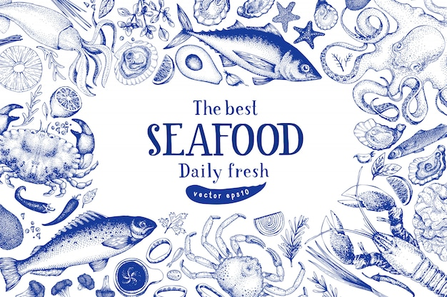 Seafood vector frame template. hand drawn illustration.