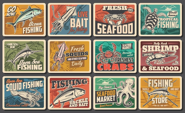 Seafood vector retro posters, fishing catch, fish gourmet restaurant, ocean and sea fishery industry. chef delicatessen food, underwater animals squid, octopus and crab, tackle rent vintage cards