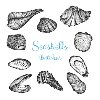 Seafood vector sketch set, hand drawn pencil design elements.