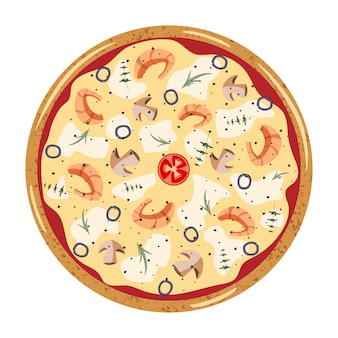 Seafood whole pizza top view with different ingredients