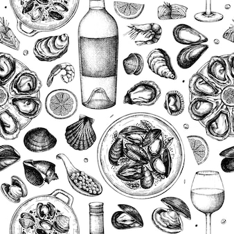 Seafood and wine illustrations seamless pattern. hand drawn shellfish - mussels, oyster, shrimps, caviar, fish sketches. perfect for recipe, menu, delivery, packaging. mediterranean cuisine background