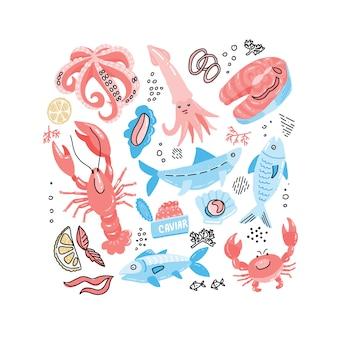 Seafood手描きの魚、カニ、ロブスター、キャビア、サーモンステーキ、イカのシンプルな色の落書き。