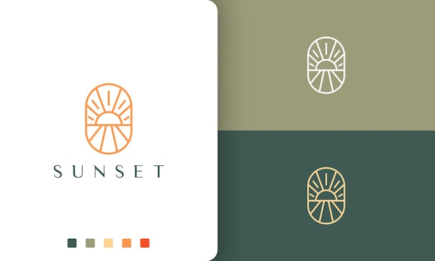 Seafront or beach logo in simple and mono line style