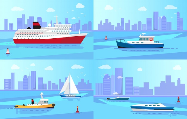 Seagoing vessels near coastline illustrations set
