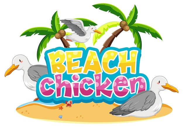 Seagull bird cartoon character with beach chicken font banner isolated Free Vector