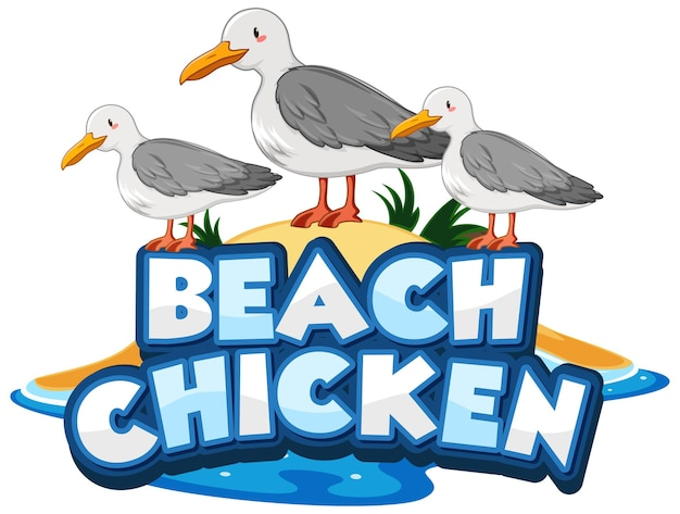 Seagull bird cartoon character with beach chicken font banner isolated