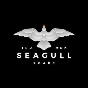 Seagull gradient roar flying logo vector icon illustration