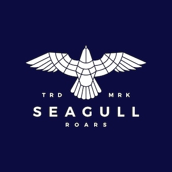 Seagull roar flat flying logo vector icon illustration