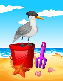 Чайка стоит на красном ведре